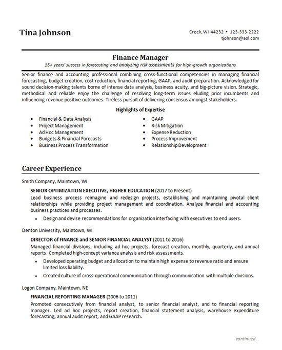 senior finance manager resume example
