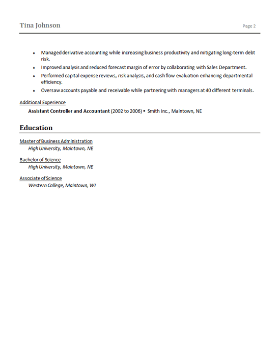 Senior Finance Manager Resume Sample