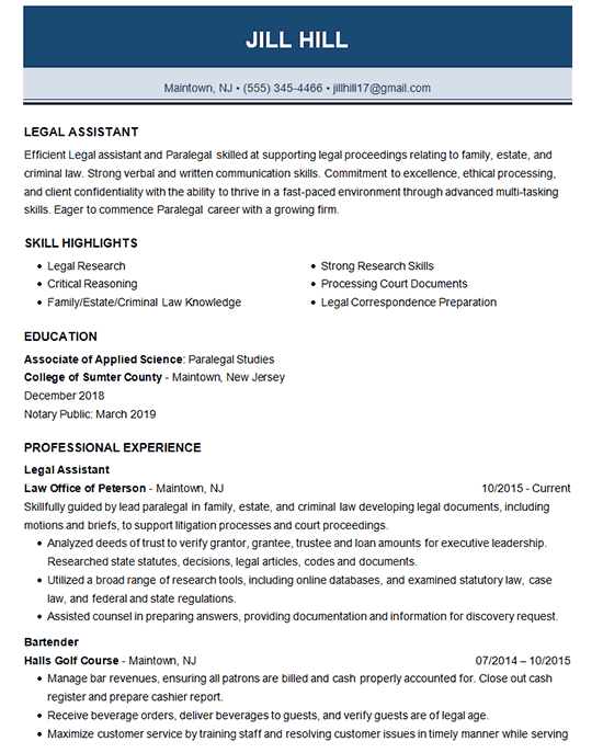 legal assistant resume example law research courts