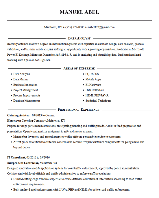 Data Mining Resume Example Data Analysis Amp Management
