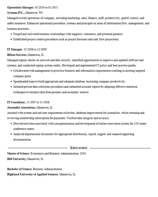 Data Mining Resume Sample