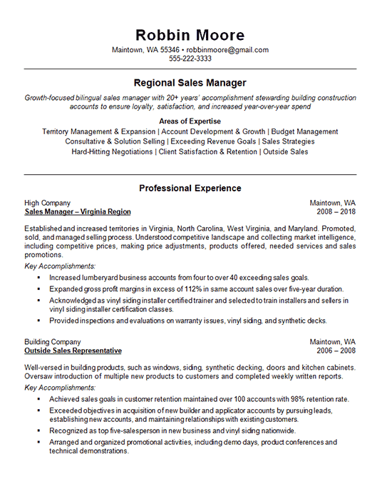 Outside Regional Sales Resume Example