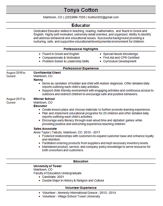 nanny resume example - childcare
