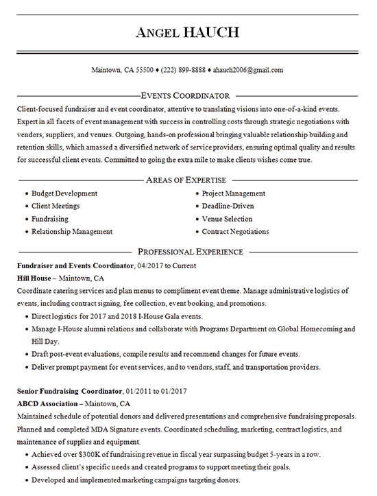 events coordinator resume example