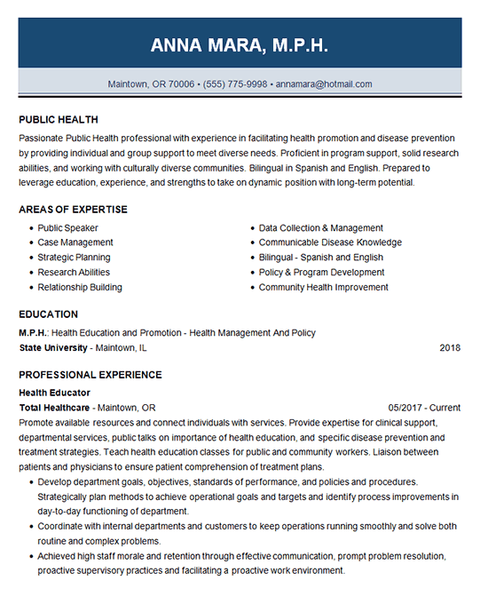 Public Health Resume Example