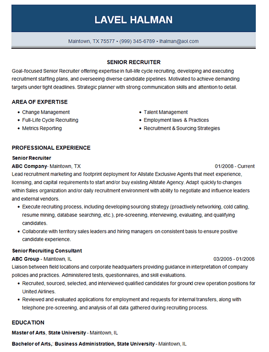 Senior Recruiter Resume Example  Employment   Recruiting