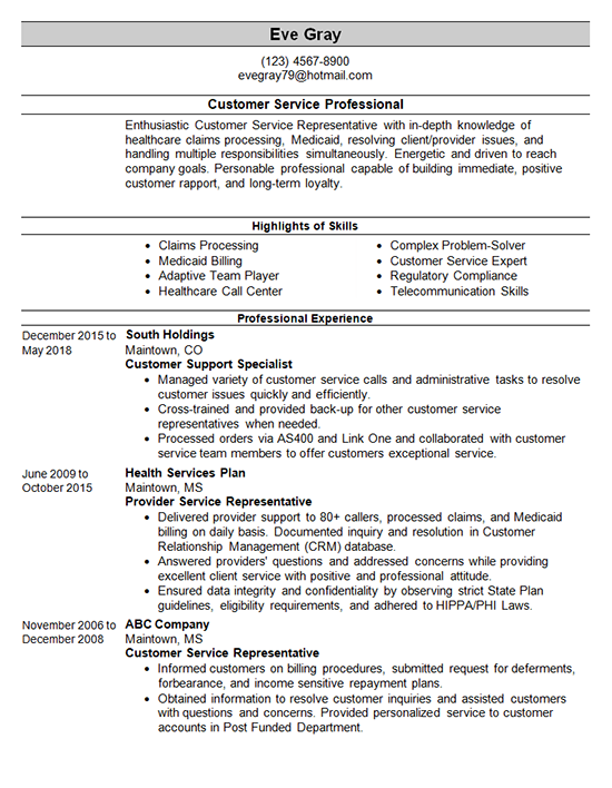 customer-service-resume-template | Resume and Cover Letter ...
