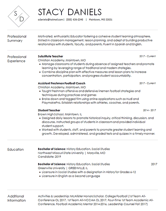 Teacher Resume Template - Substitute and Coach