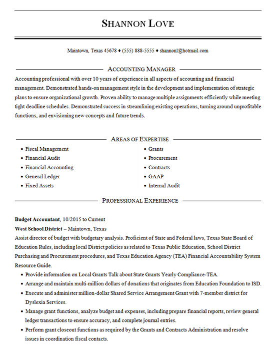 accounting manager resume example