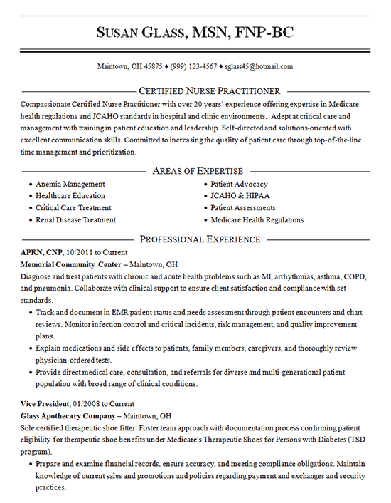 Certified Nurse Practitioner Resume Example