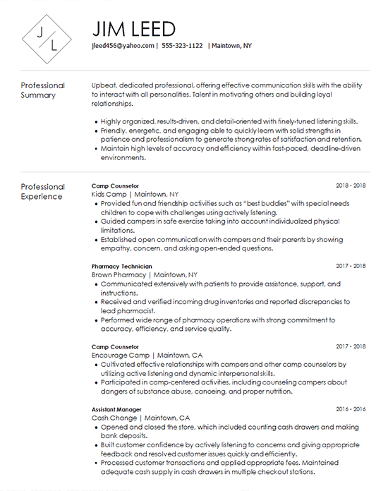 Camp Counselor Resume Example