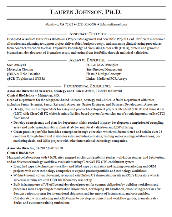 clinical director resume example - microbiology