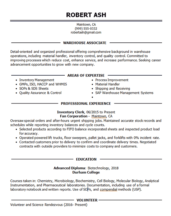 warehouse associate resume example
