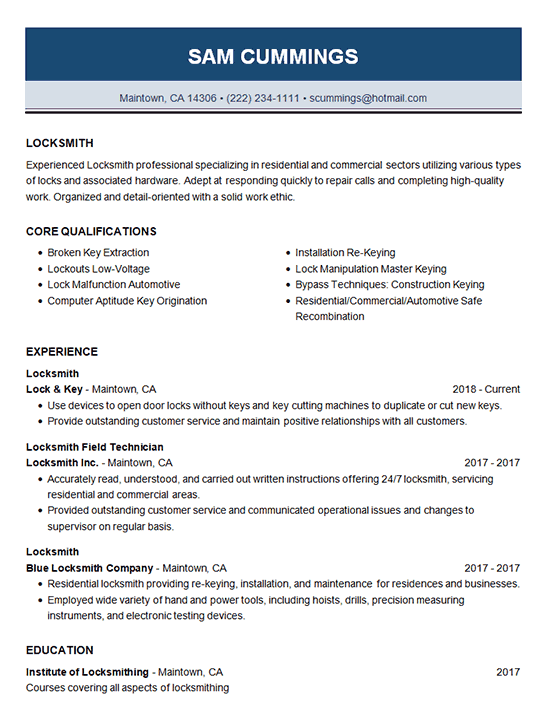 Locksmith Resume Example Locksmithing Sample