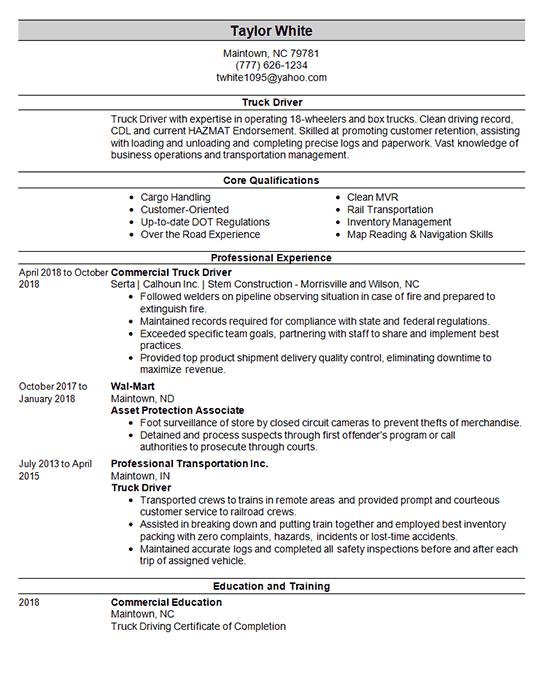 Cdl Truck Driver Resume Example