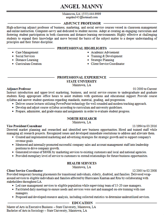 Adjunct Professor Resume Example College University
