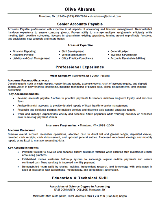 accounts payable resume example