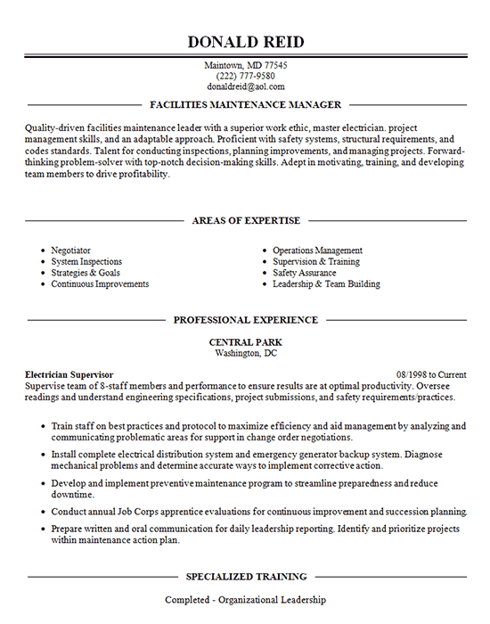 Facilities Management Resume Example