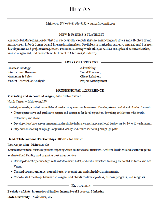 Business Strategist Resume Example Marketing Account Management