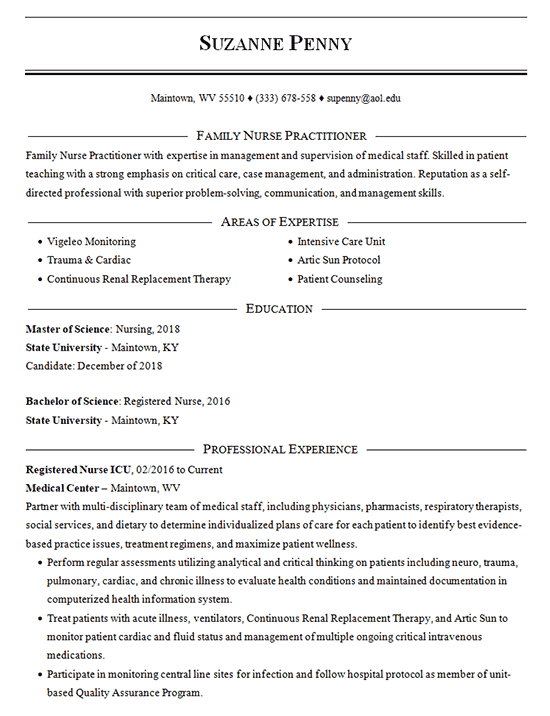family nurse practitioner resume example
