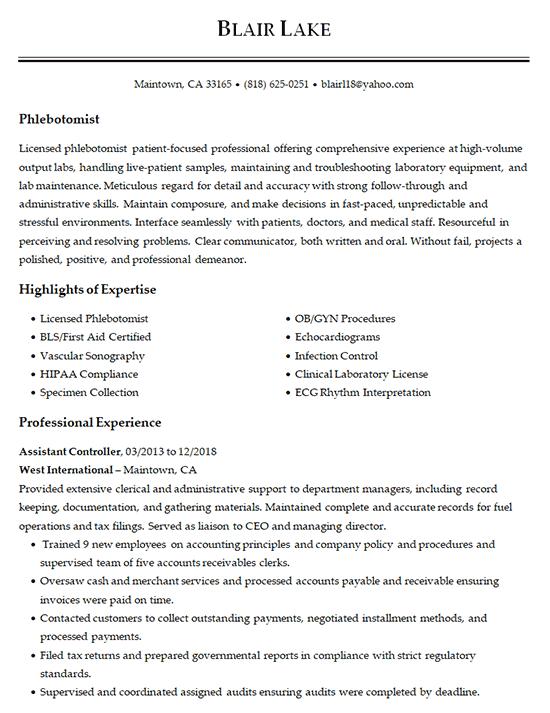 Phlebotomist Resume Example Medical Laboratory