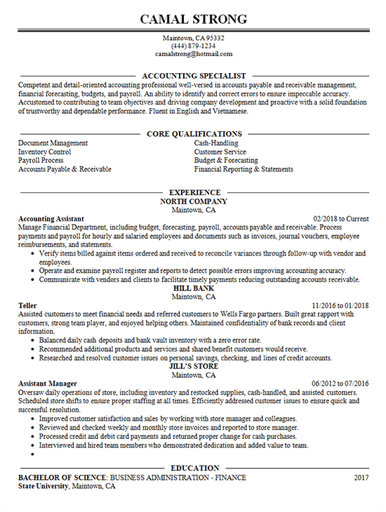 Accounting Specialist Resume Example