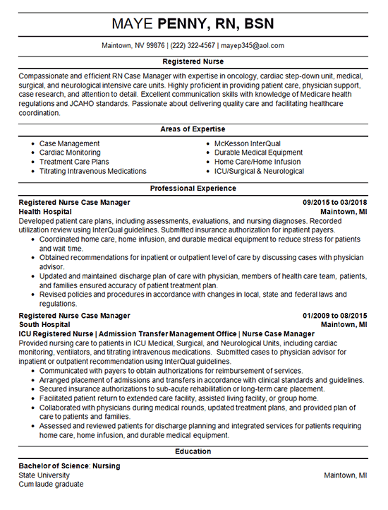 nurse case manager resume example