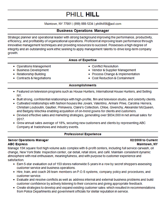 Business Operations Manager Resume Example