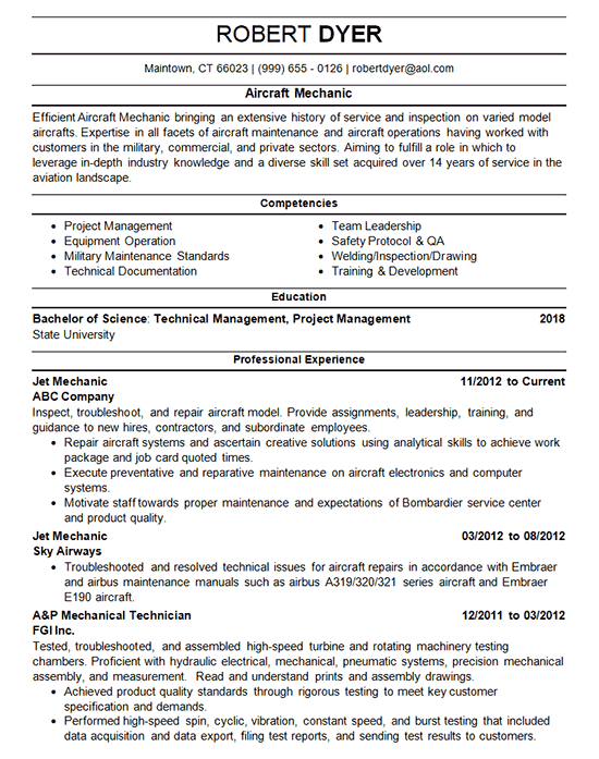 Aircraft Mechanic Resume Example - Airplane Maintenance