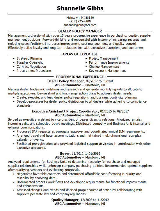policy manager resume example