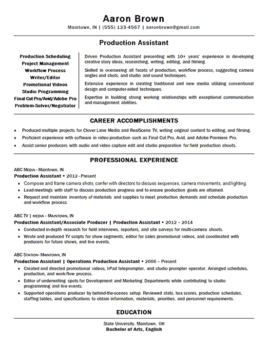 Production Assistant Resume Example