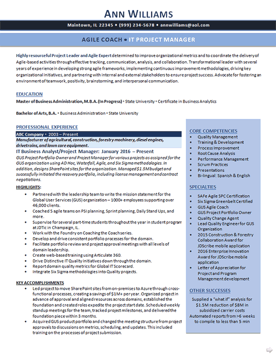 IT Business Analyst Resume Example