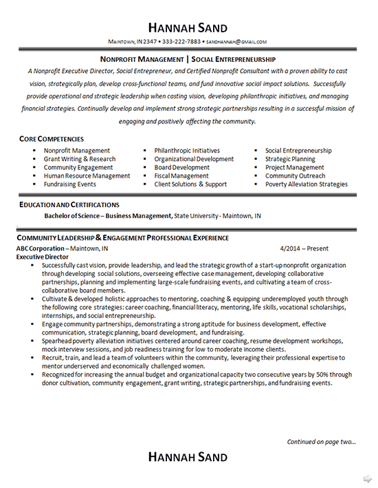 nonprofit manager resume example