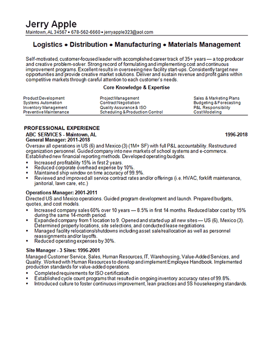 Distribution Manager Resume Example