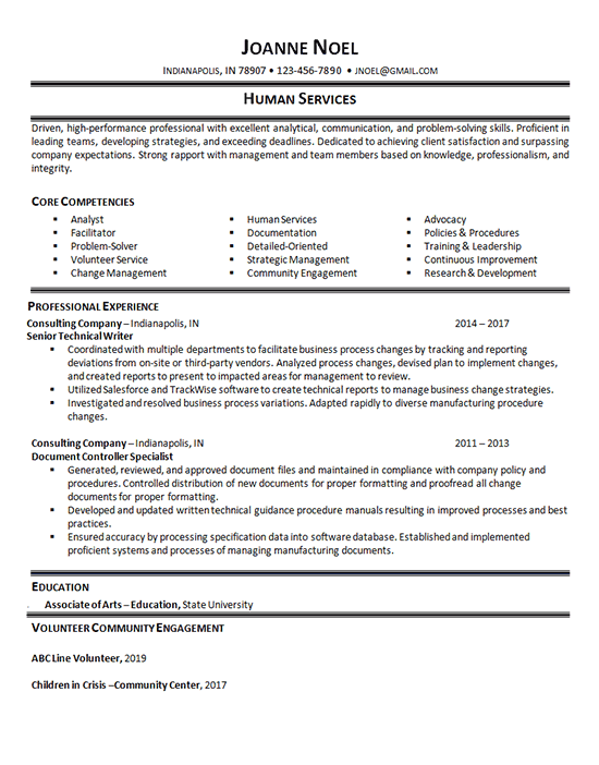 human services resume example