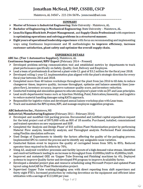 Industrial Engineering Resume Example Mechanical Engineer
