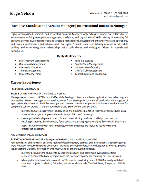 Business Coordinator Resume Example -