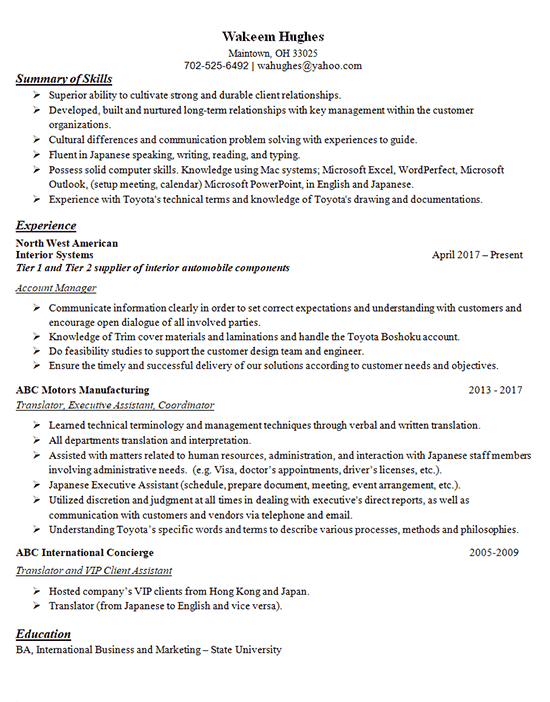 translator resume example