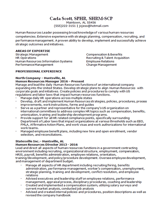 Human Resources Recruiter Resume Example