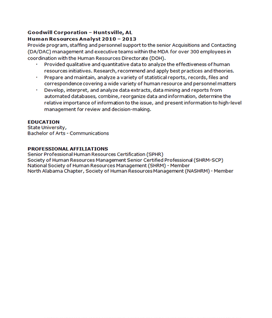HR Recruiter Resume Example