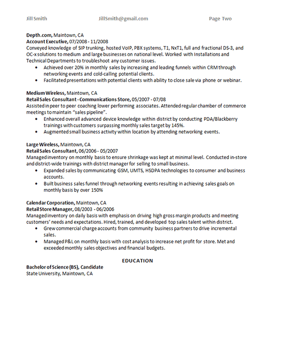 Account Sales Manager Resume Sample