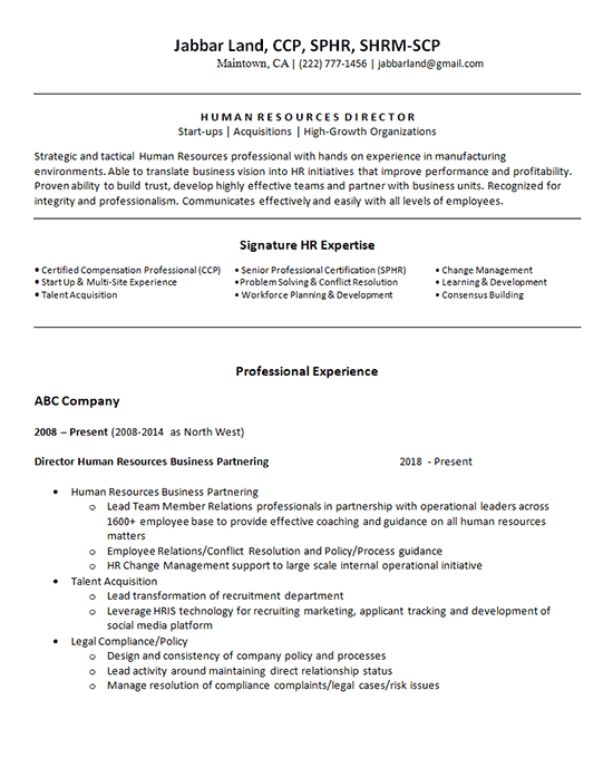 Human Resources Generalist Resume Example