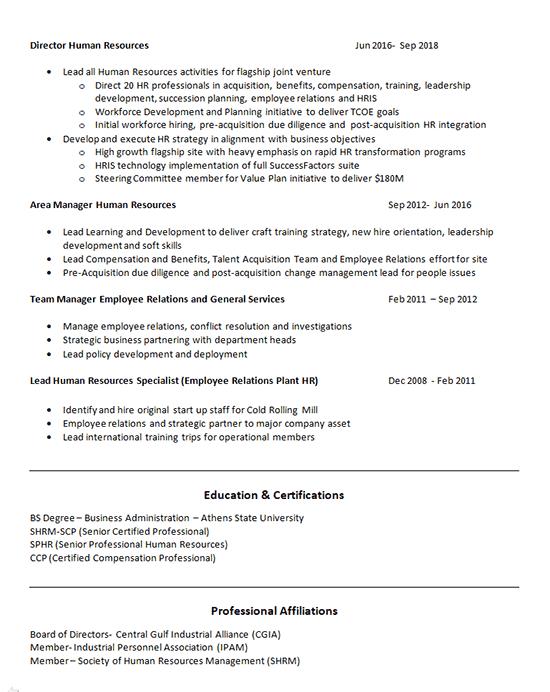 Human Resources Generalist Resume
