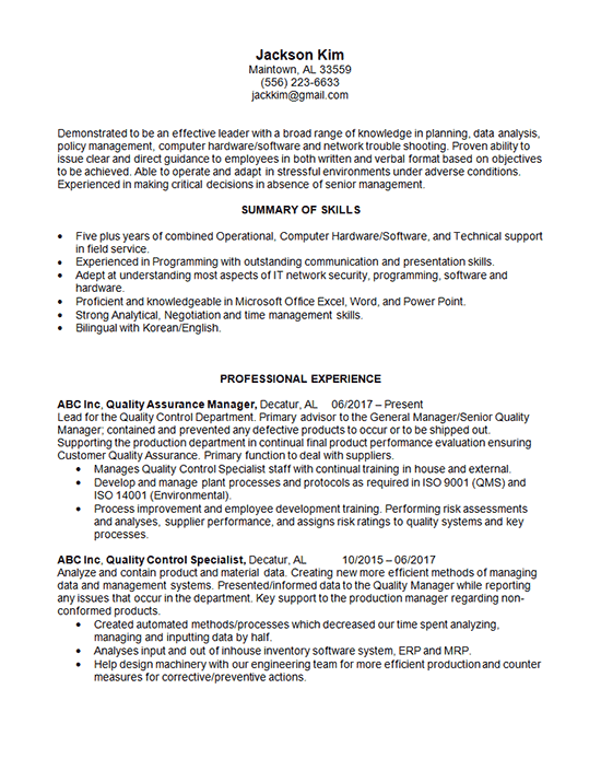 quality manager resume example - it technical