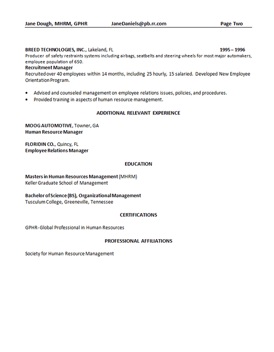 Human Resources Manager Resume Sample