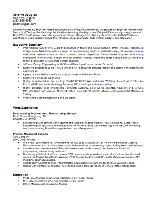Manufacturing Engineering Resume Example Robotic Welding