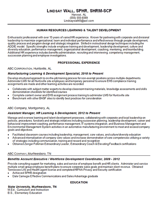 Talent Development Resume Example Human Resources Learning