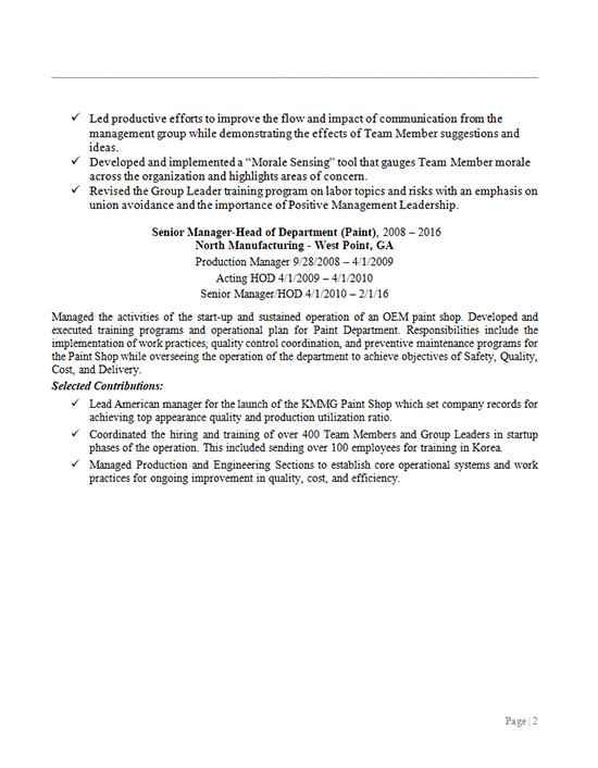 Senior Manufacturing Manager - Head of Department Resume