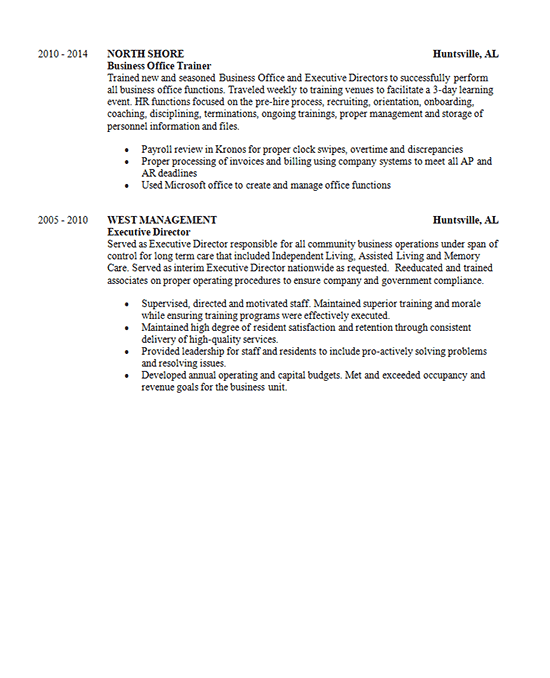 corporate learning resume