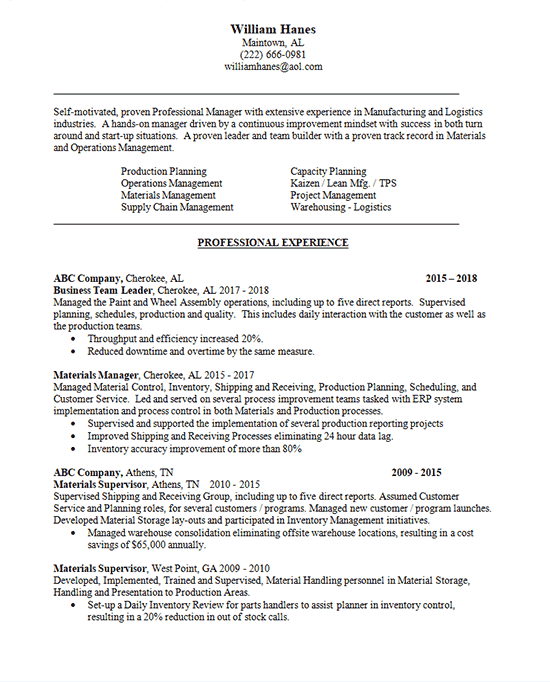 Business Manager Resume Example